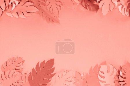 Photo pour Cadre de papier tropical corail couper des feuilles de palmier, fond minimaliste avec l'espace de copie - image libre de droit