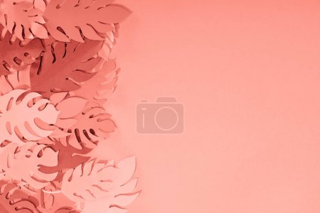 Rama Coral tropikalnych papieru cięte liści palmowych, minimalistyczne tło z kopią przestrzeni