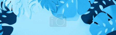 Photo pour Plan panoramique de feuilles tropicales découpées en papier sur fond bleu minimaliste avec espace de copie - image libre de droit