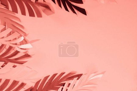 Photo for Frame of coral tropical paper cut palm leaves, minimalistic background with copy space - Royalty Free Image