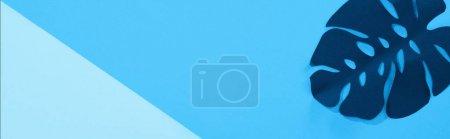 Photo pour Vue du dessus de la feuille de papier sur fond bleu minimaliste avec espace de copie, vue panoramique - image libre de droit