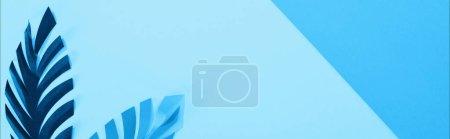 Photo pour Plan panoramique de feuilles de papier sur fond bleu minimaliste avec espace de copie - image libre de droit