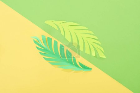 Photo for Flat lay with paper cut tropical leaves on yellow and green bright background - Royalty Free Image
