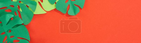 Photo for Panoramic shot of green paper cut tropical leaves on bright red background with copy space - Royalty Free Image