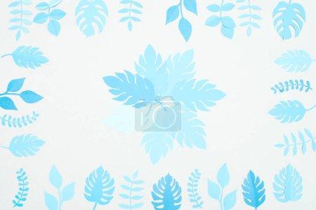 Foto de Vista superior de papel azul cortado hojas tropicales aisladas en blanco - Imagen libre de derechos