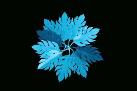 Photo for Top view of paper cut blue leaves isolated on black, background pattern - Royalty Free Image