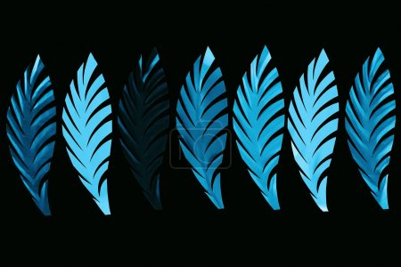 Photo pour Vue supérieure des feuilles bleues coupées de papier dans la ligne d'isolement sur le noir, modèle de fond - image libre de droit