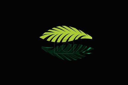 Foto de Plana sacada con hojas verdes cortadas en papel aisladas en negro, patrón de fondo - Imagen libre de derechos