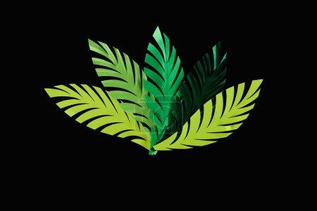 Photo pour Vue du dessus des feuilles vertes coupées en papier isolées sur fond noir - image libre de droit
