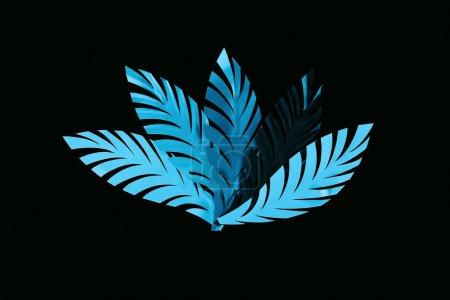 Photo pour Vue supérieure des feuilles bleues coupées de papier d'isolement sur le noir, modèle de fond - image libre de droit