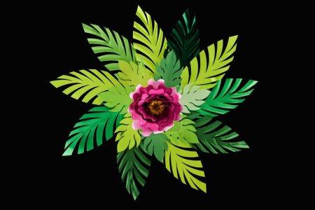 Photo pour Vue supérieure des feuilles vertes coupées de papier avec la fleur cramoisie d'isolement sur le noir, modèle de fond - image libre de droit