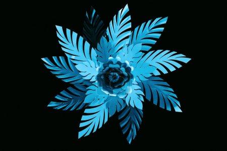 Photo pour Vue supérieure des feuilles bleues coupées de papier avec la fleur d'isolement sur le noir, modèle de fond - image libre de droit