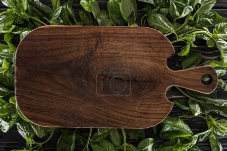 Photo for Top view of wooden cutting board on leaves of basil - Royalty Free Image
