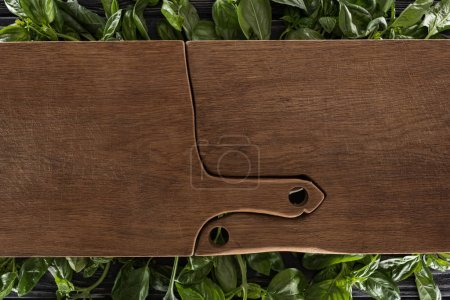 Photo for Top view of wooden cutting boards on leaves of basil - Royalty Free Image