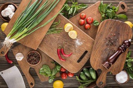 Photo pour Vue du dessus des planches à découper, tomates cerises, sel, ail, concombres, piments, moulin à poivre, hachoir à viande, citrons et épices - image libre de droit