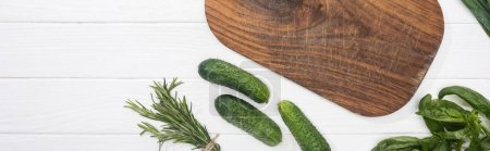 Photo for Panoramic shot of wooden chopping board, cucumbers and greenery - Royalty Free Image