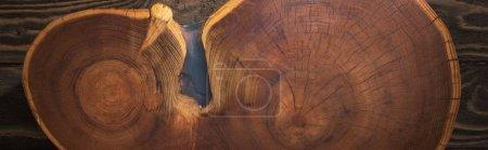 Foto de Foto panorámica de tabla de cortar madera en la mesa marrón - Imagen libre de derechos