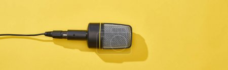 panoramic shot of microphone on bright and colorful background