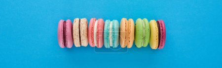 Photo for Panoramic shot of multicolored delicious French macaroons in row on blue bright background with copy space - Royalty Free Image