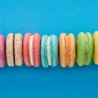 Top view of multicolored delicious French macaroon...