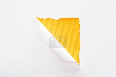 Foto de Papel blanco desgarrado y enrollado sobre el fondo a rayas amarillo colorido - Imagen libre de derechos
