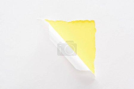 Foto de Papel blanco desgarrado y enrollado sobre el colorido fondo amarillo neón - Imagen libre de derechos