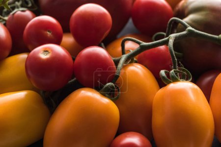 close up view of yellow, red and cherry tomatoes