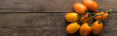 Photo for Panoramic shot of yellow tomatoes on wooden table - Royalty Free Image