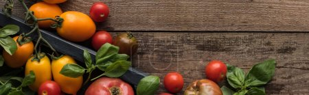 Photo for Panoramic shot of tomatoes and spinach in box on wooden table - Royalty Free Image