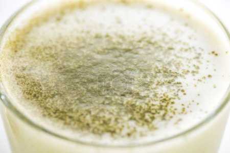 Photo for Close up of green matcha tea in glass - Royalty Free Image