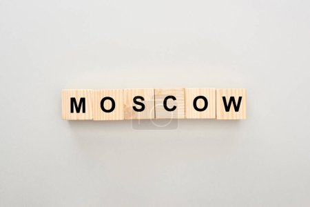 Photo for Top view of wooden blocks with Moscow lettering on white background - Royalty Free Image