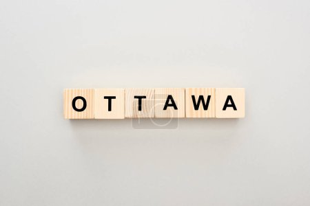top view of wooden blocks with Ottawa lettering on white background