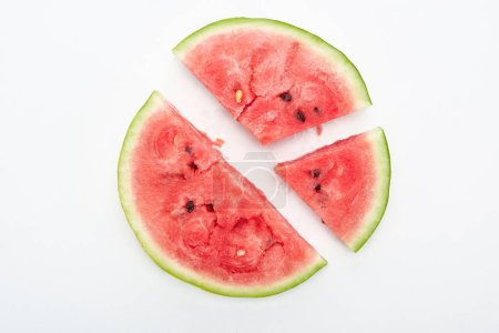 Photo for Top view of round cut watermelon slices on white background - Royalty Free Image