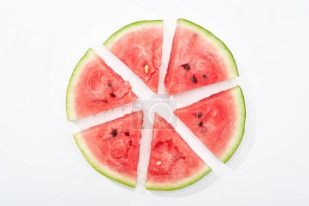 Photo for Top view of round cut juicy watermelon on white background - Royalty Free Image