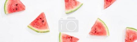 Photo pour Plan panoramique de tranches de pastèque fraîche sur fond blanc - image libre de droit