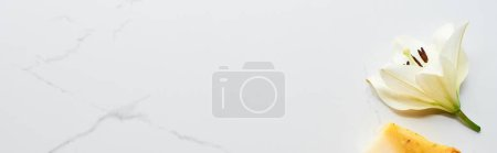 Photo pour Coup panoramique de fleur blanche fraîche près du morceau normal de savon sur la surface de marbre - image libre de droit