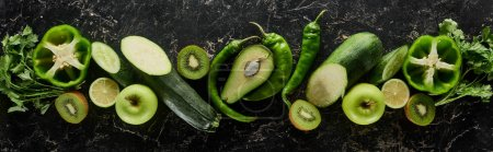 Photo for Panoramic shot of fresh apples, limes, peppers, cucumbers, avocado, greenery, kiwi and zucchini - Royalty Free Image