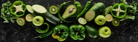 Photo for Panoramic shot of fresh apples, limes, peppers, cucumbers, avocados, greenery, kiwi and zucchini - Royalty Free Image