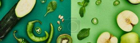 Photo pour Coup panoramique de pommes, courgettes, poivrons, kiwis et verdure - image libre de droit