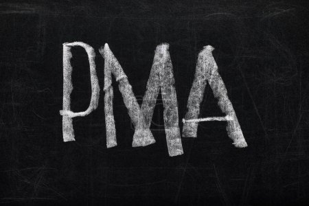 Photo for Top view of black chalk board with lettering pma - Royalty Free Image