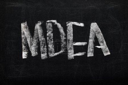 Photo pour Vue supérieure du panneau noir de craie avec le mdea de lettrage - image libre de droit