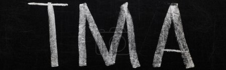 panoramic shot of black chalk board with lettering tma