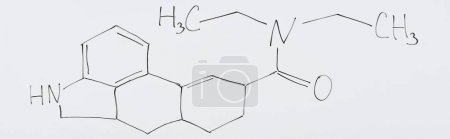 panoramic shot of white board with chemical formula in laboratory