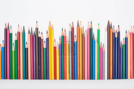 Photo for Multicolor sharpened pencils isolated on white - Royalty Free Image