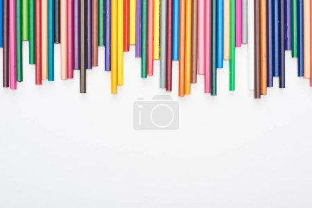 Photo for Bright color sharpened pencils isolated on white - Royalty Free Image