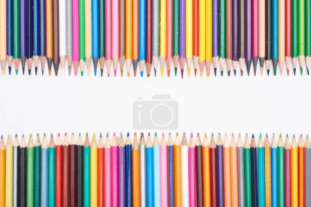 Photo for Color pencils isolated on white with copy space - Royalty Free Image