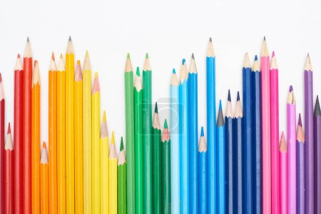 Photo for Rainbow spectrum made with color pencils isolated on white - Royalty Free Image