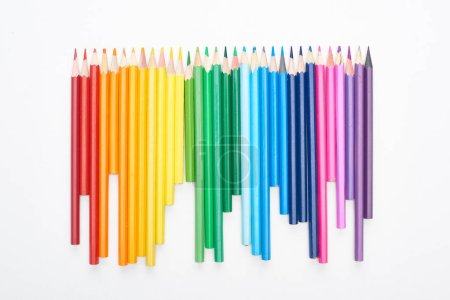Photo for Rainbow spectrum made with sharpened color pencils isolated on white - Royalty Free Image