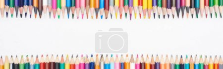 Photo for Panoramic shot of color pencils isolated on white with copy space - Royalty Free Image