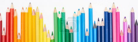 Photo for Panoramic shot of line of different sizes color pencils isolated on white - Royalty Free Image